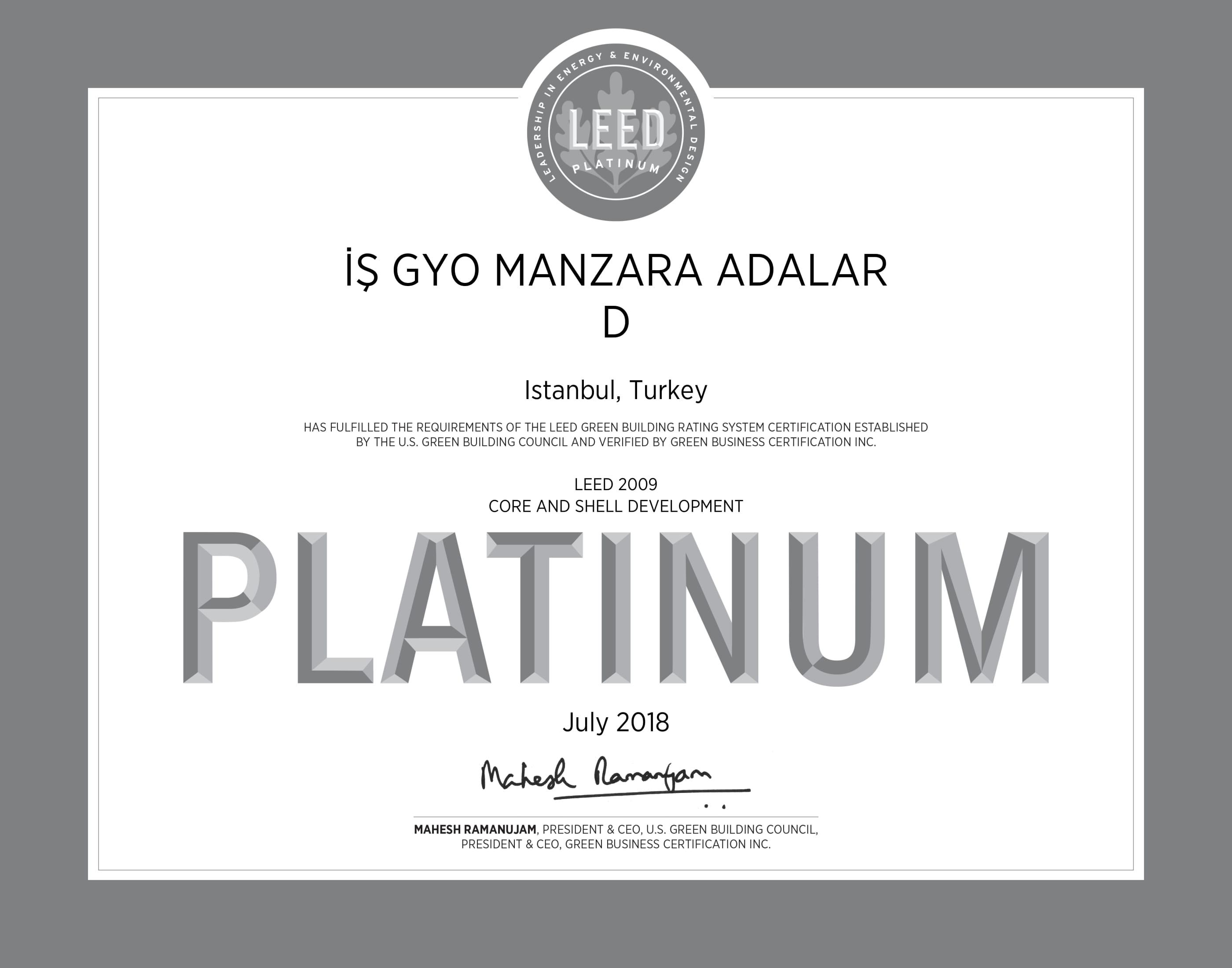 LEED Platinum / Manzara Adalar Ofis