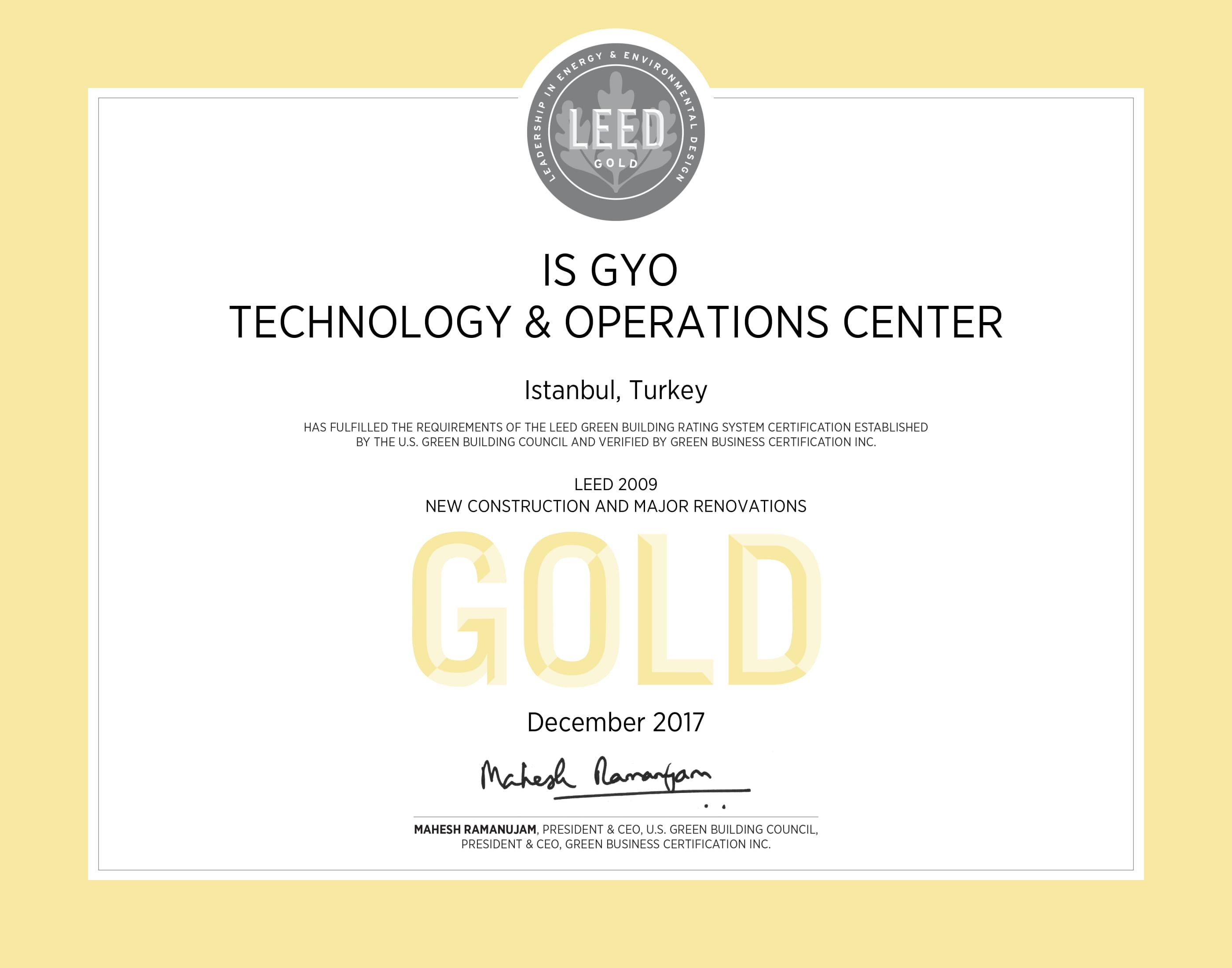 LEED Gold / Tuzla Teknoloji ve Operasyon Merkezi
